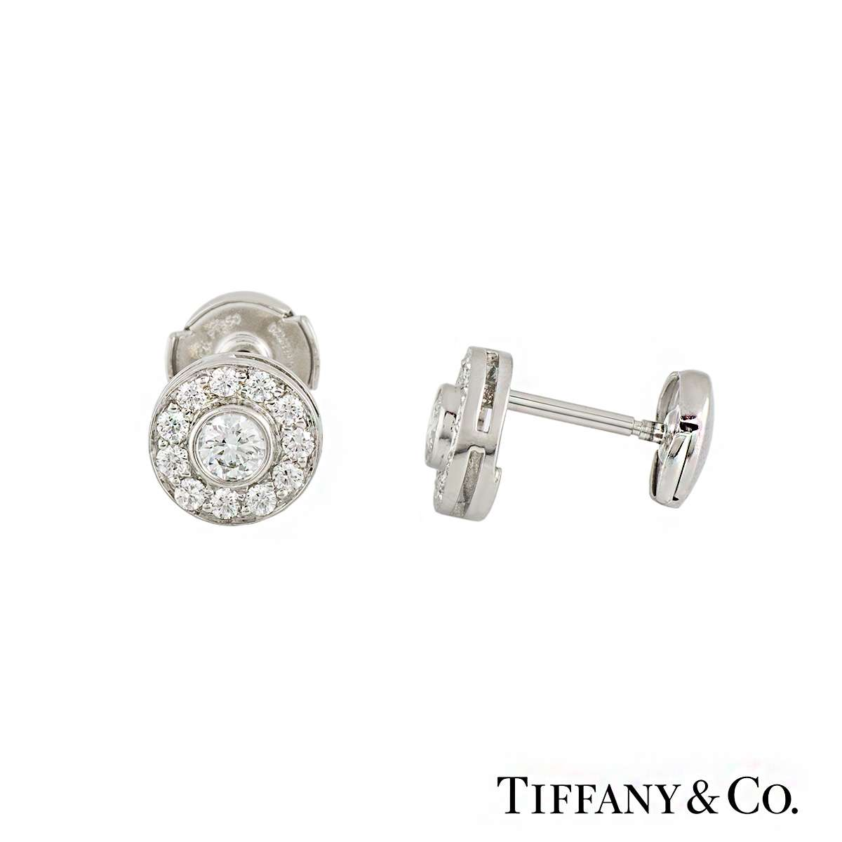 aa569fc5f Tiffany & Co Diamond Set Circlet Earstuds in Platinum 0.53ct - Rich ...